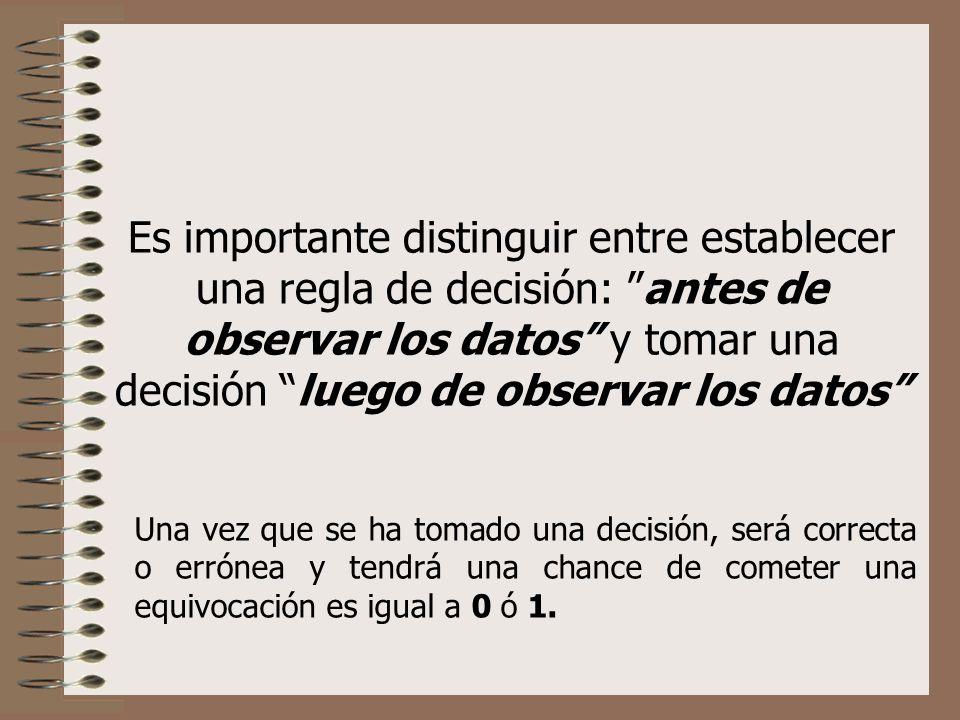 Es importante distinguir entre establecer una regla de decisión: antes de observar los datos y tomar una decisión luego de observar los datos