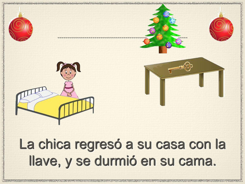 La chica regresó a su casa con la llave, y se durmió en su cama.