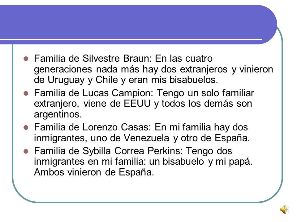 Familia de Silvestre Braun: En las cuatro generaciones nada más hay dos extranjeros y vinieron de Uruguay y Chile y eran mis bisabuelos.