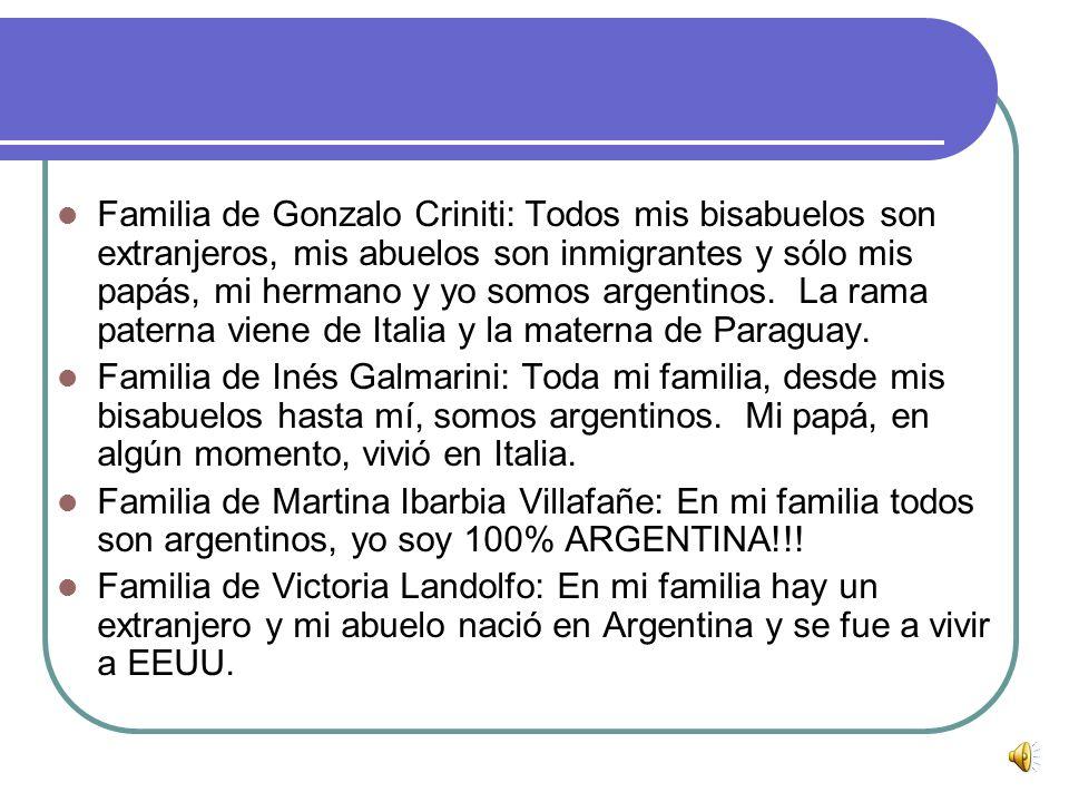 Familia de Gonzalo Criniti: Todos mis bisabuelos son extranjeros, mis abuelos son inmigrantes y sólo mis papás, mi hermano y yo somos argentinos. La rama paterna viene de Italia y la materna de Paraguay.