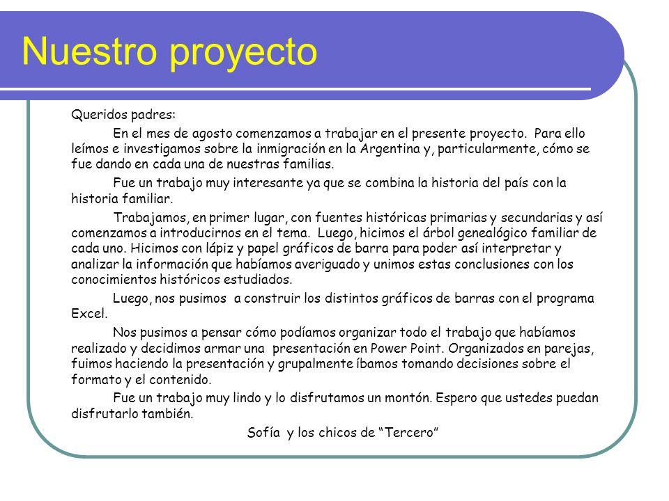 Nuestro proyecto Queridos padres: