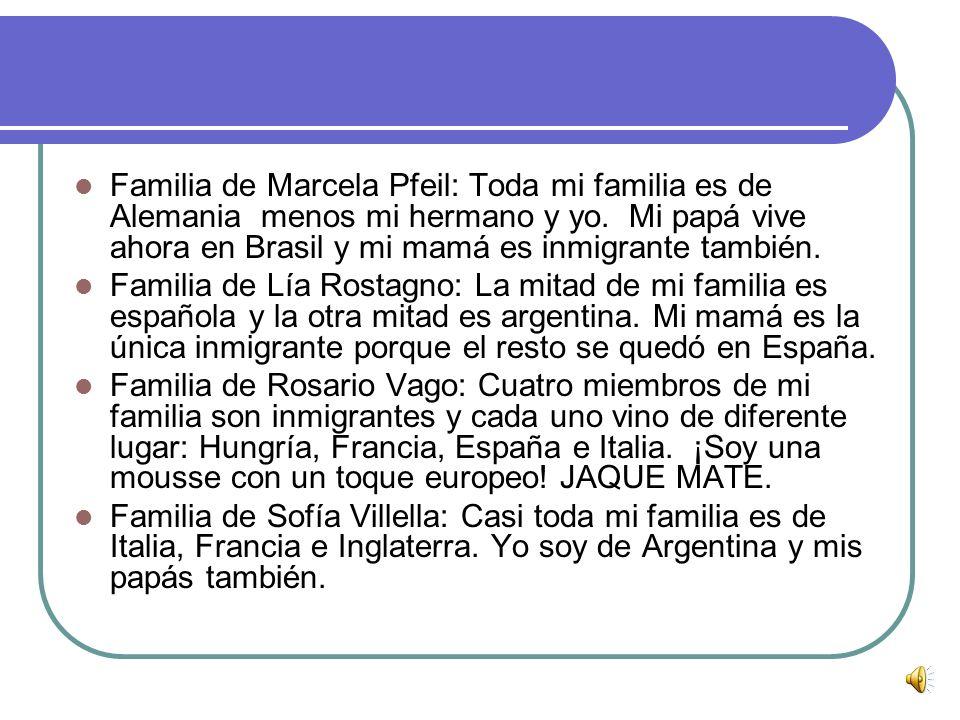 Familia de Marcela Pfeil: Toda mi familia es de Alemania menos mi hermano y yo. Mi papá vive ahora en Brasil y mi mamá es inmigrante también.