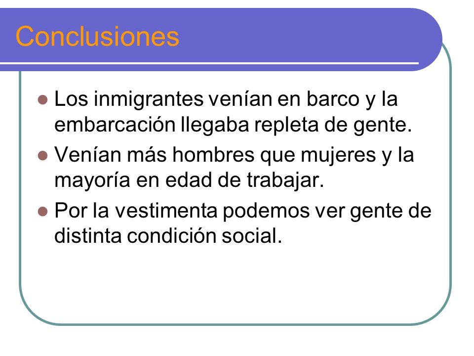 Conclusiones Los inmigrantes venían en barco y la embarcación llegaba repleta de gente.