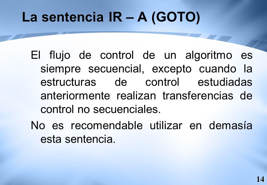 La sentencia IR – A (GOTO)