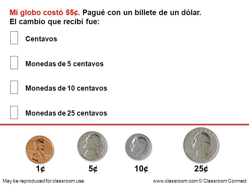 1¢ 5¢ 10¢ 25¢ Mi globo costó 55¢. Pagué con un billete de un dólar.