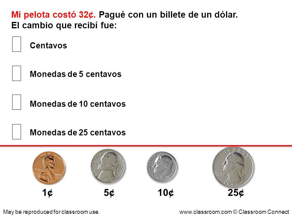 1¢ 5¢ 10¢ 25¢ Mi pelota costó 32¢. Pagué con un billete de un dólar.