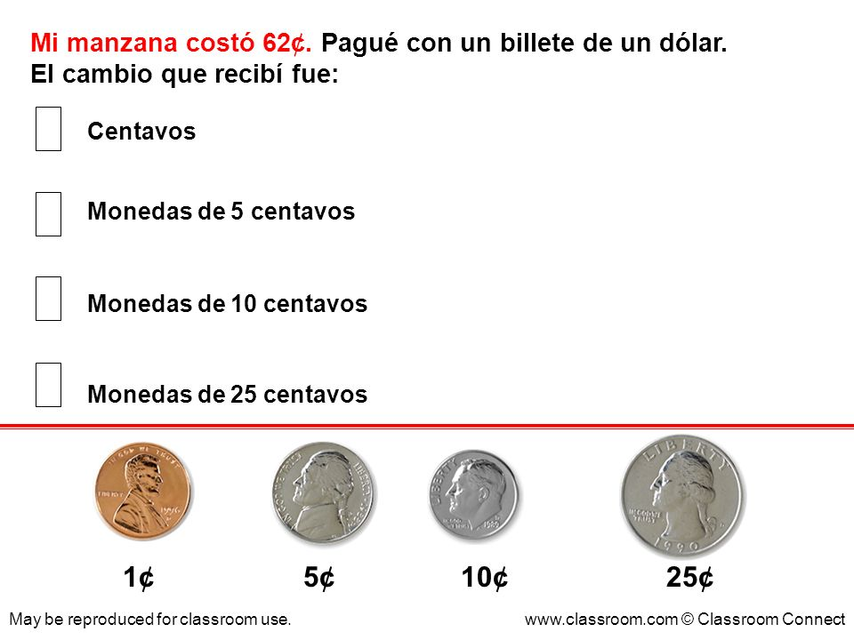 1¢ 5¢ 10¢ 25¢ Mi manzana costó 62¢. Pagué con un billete de un dólar.