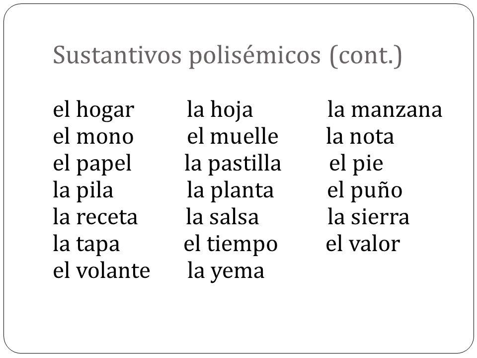 Sustantivos polisémicos (cont.)