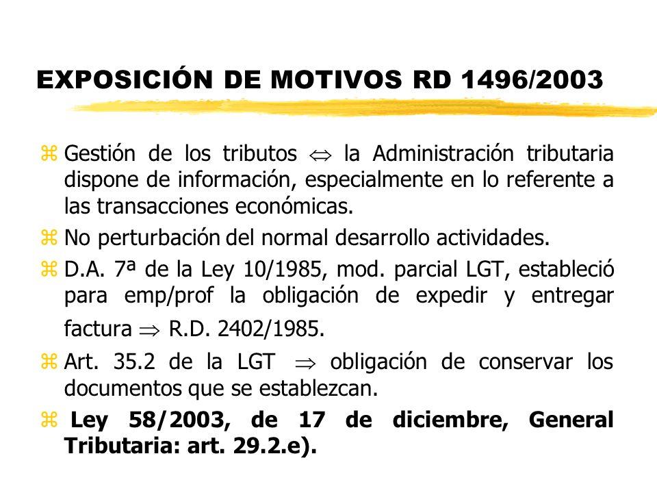 EXPOSICIÓN DE MOTIVOS RD 1496/2003