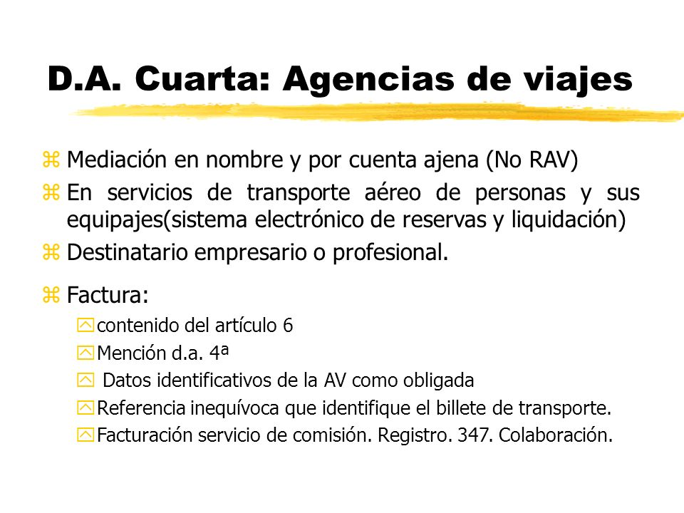 D.A. Cuarta: Agencias de viajes