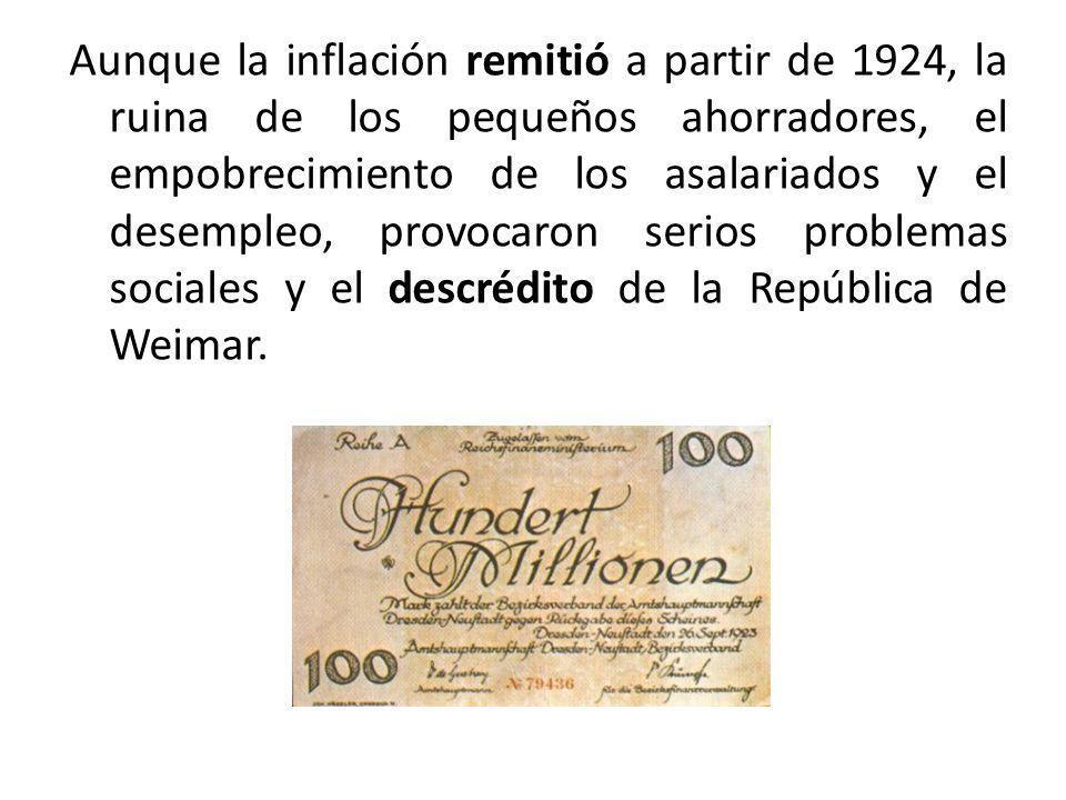Aunque la inflación remitió a partir de 1924, la ruina de los pequeños ahorradores, el empobrecimiento de los asalariados y el desempleo, provocaron serios problemas sociales y el descrédito de la República de Weimar.