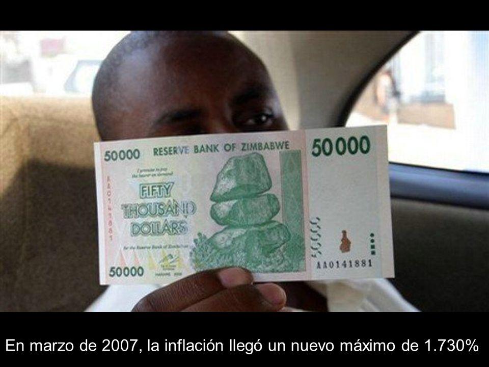 En marzo de 2007, la inflación llegó un nuevo máximo de 1.730%