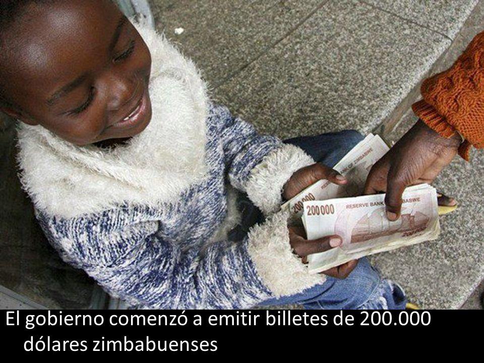 El gobierno comenzó a emitir billetes de 200.000 dólares zimbabuenses