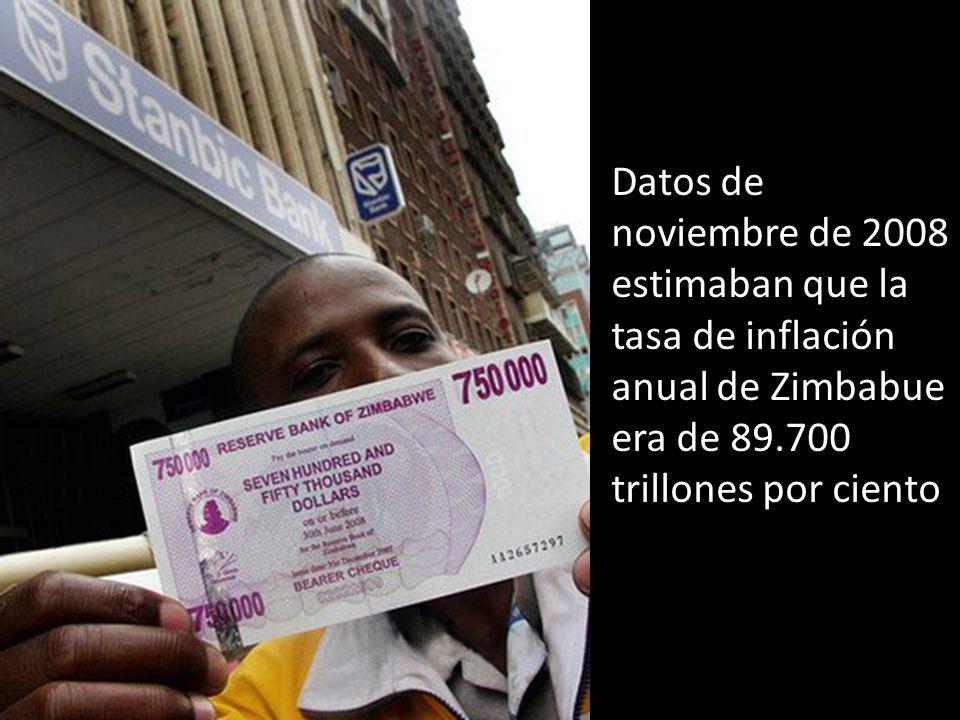 Datos de noviembre de 2008 estimaban que la tasa de inflación anual de Zimbabue era de 89.700 trillones por ciento