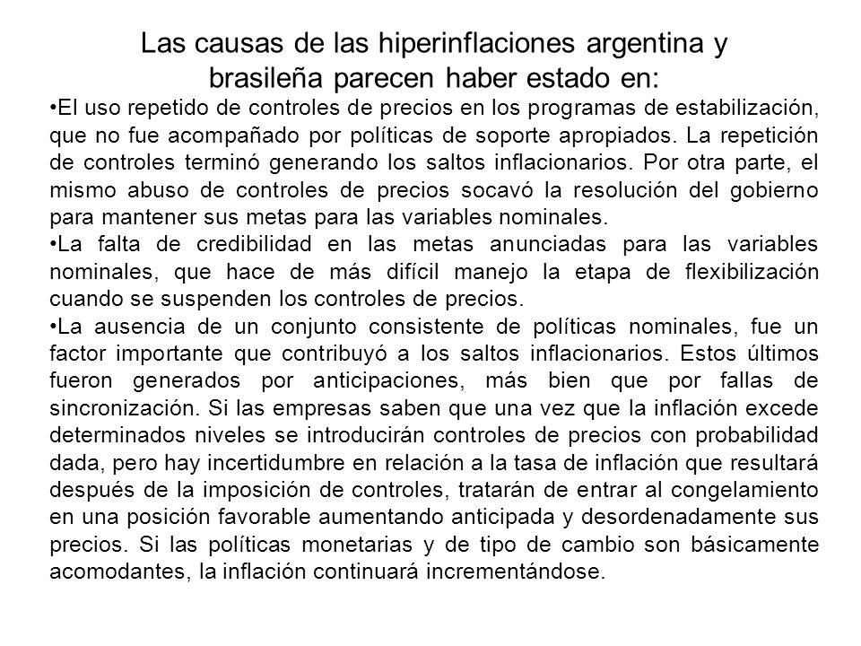 Las causas de las hiperinflaciones argentina y