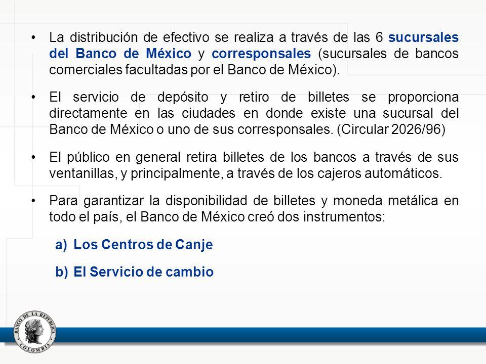 La distribución de efectivo se realiza a través de las 6 sucursales del Banco de México y corresponsales (sucursales de bancos comerciales facultadas por el Banco de México).