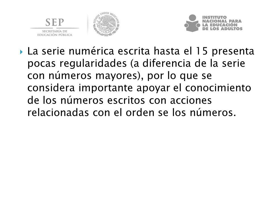 La serie numérica escrita hasta el 15 presenta pocas regularidades (a diferencia de la serie con números mayores), por lo que se considera importante apoyar el conocimiento de los números escritos con acciones relacionadas con el orden se los números.