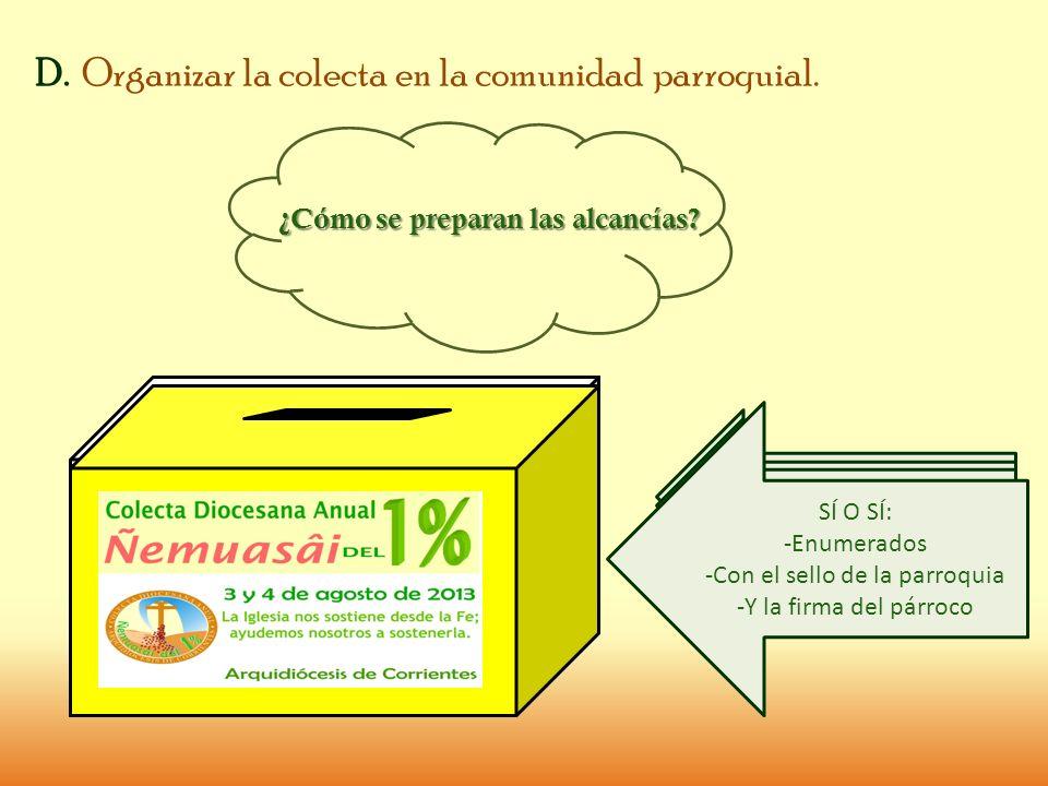 D. Organizar la colecta en la comunidad parroquial.
