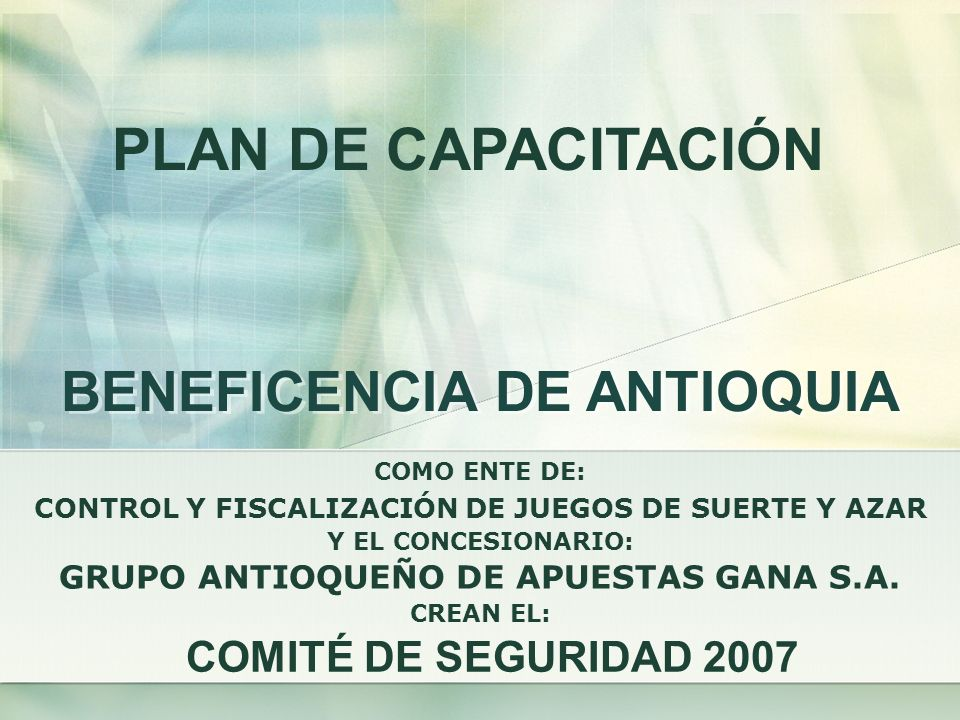 PLAN DE CAPACITACIÓN BENEFICENCIA DE ANTIOQUIA