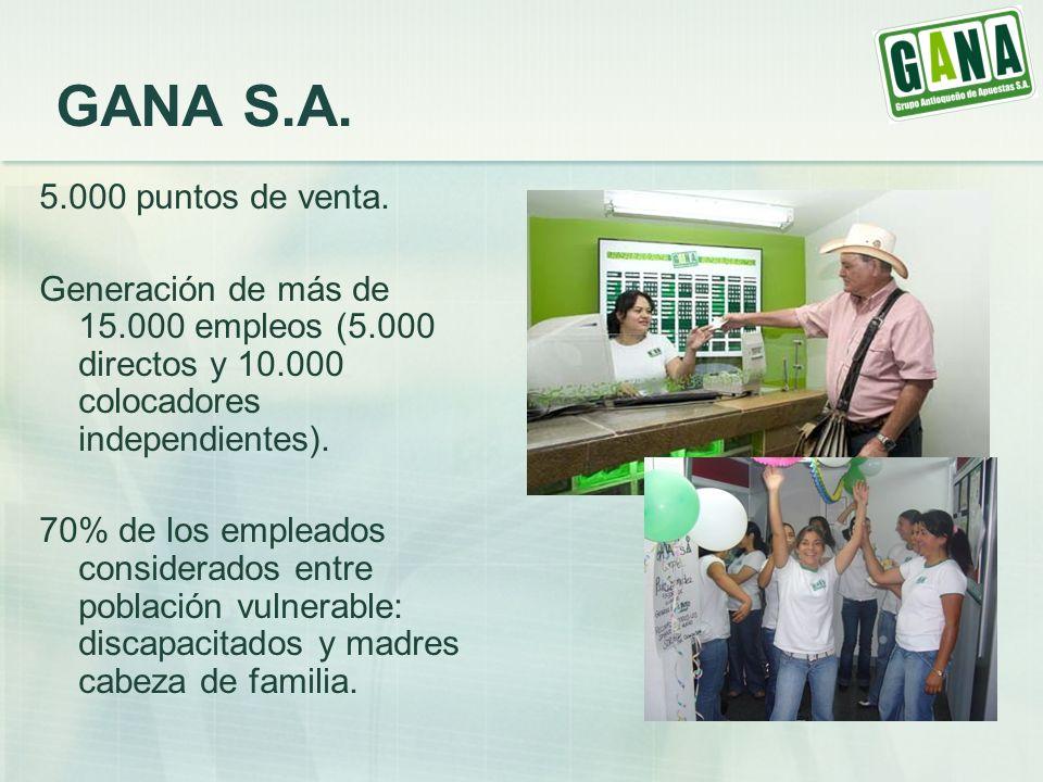 GANA S.A. 5.000 puntos de venta. Generación de más de 15.000 empleos (5.000 directos y 10.000 colocadores independientes).