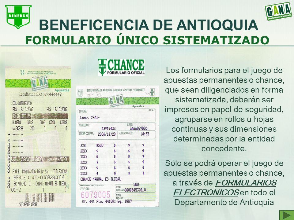BENEFICENCIA DE ANTIOQUIA FORMULARIO ÚNICO SISTEMATIZADO