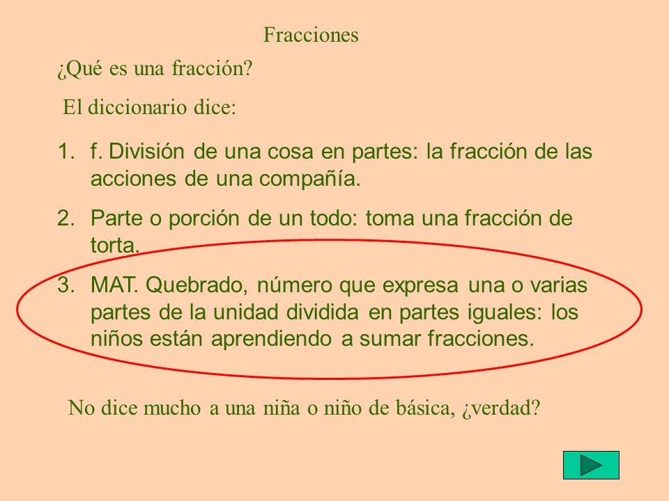 Fracciones ¿Qué es una fracción El diccionario dice: f. División de una cosa en partes: la fracción de las acciones de una compañía.
