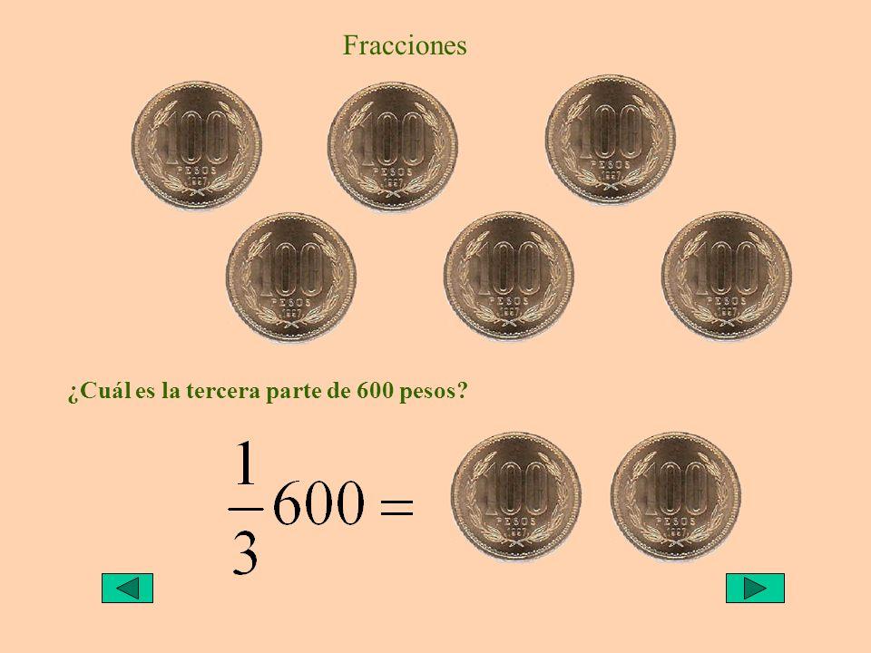 Fracciones ¿Cuál es la tercera parte de 600 pesos