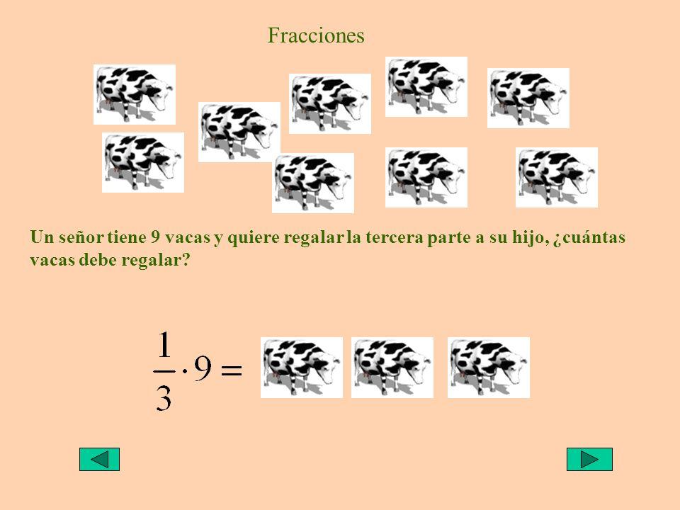 Fracciones Un señor tiene 9 vacas y quiere regalar la tercera parte a su hijo, ¿cuántas vacas debe regalar