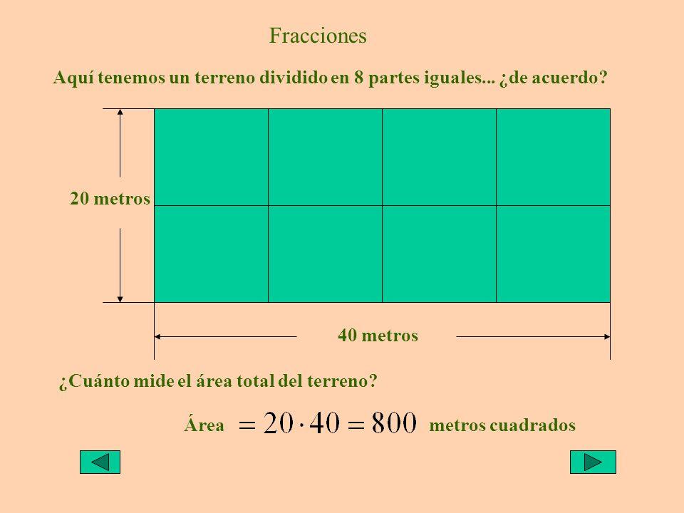 Fracciones Aquí tenemos un terreno dividido en 8 partes iguales... ¿de acuerdo 20 metros. 40 metros.