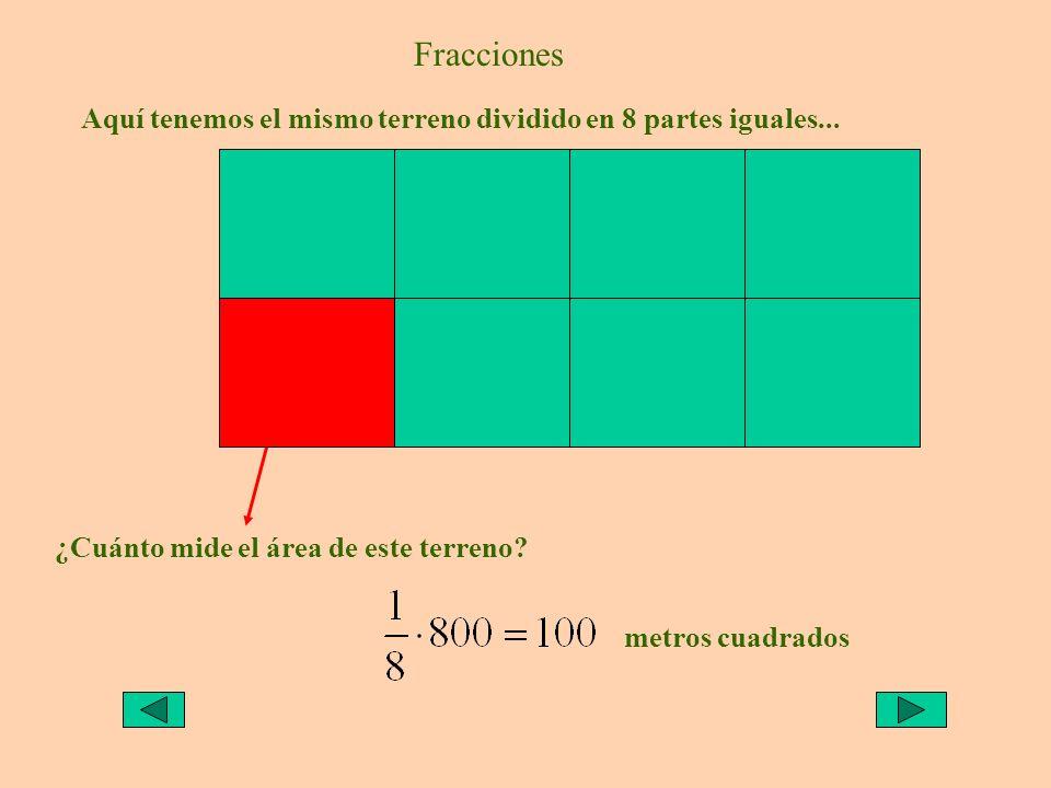Fracciones Aquí tenemos el mismo terreno dividido en 8 partes iguales... ¿Cuánto mide el área de este terreno