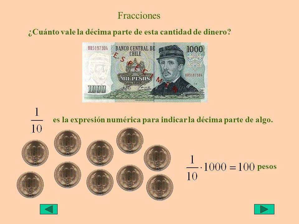 Fracciones ¿Cuánto vale la décima parte de esta cantidad de dinero