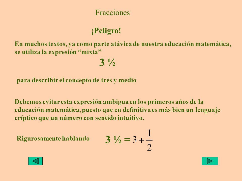 3 ½ 3 ½ = Fracciones ¡Peligro!