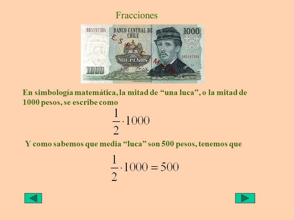 Fracciones En simbología matemática, la mitad de una luca , o la mitad de 1000 pesos, se escribe como.