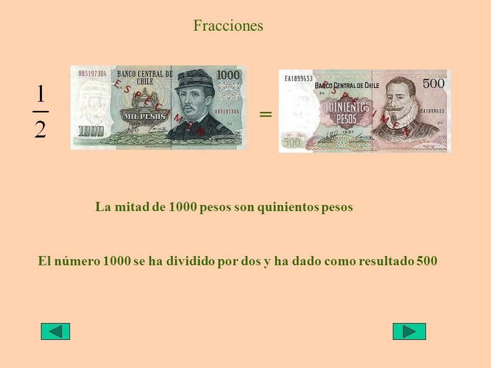 = Fracciones La mitad de 1000 pesos son quinientos pesos