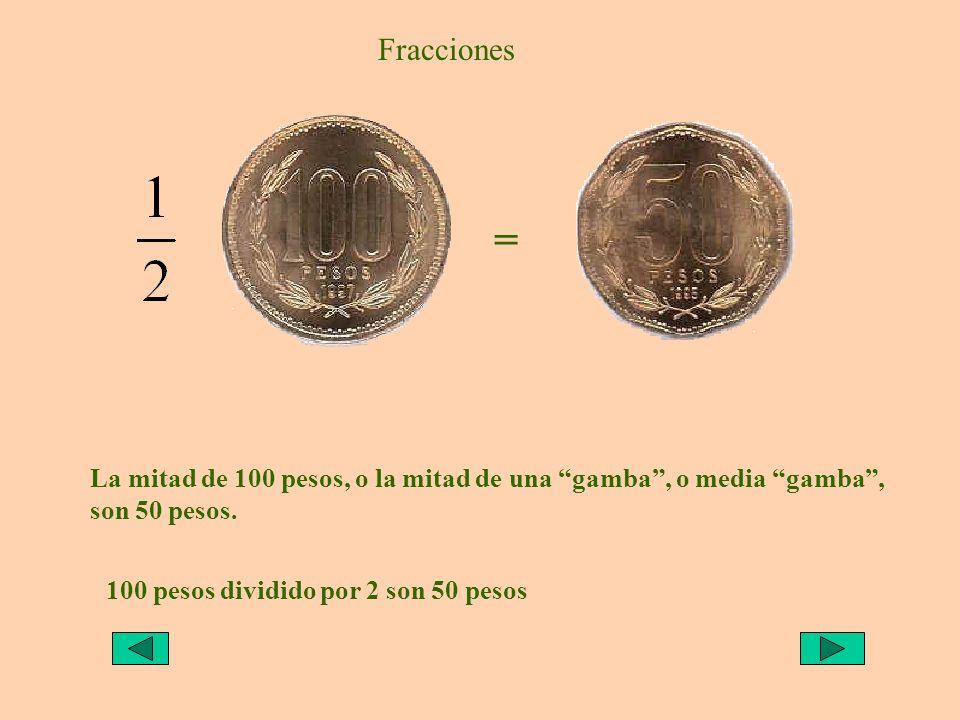 Fracciones = La mitad de 100 pesos, o la mitad de una gamba , o media gamba , son 50 pesos.