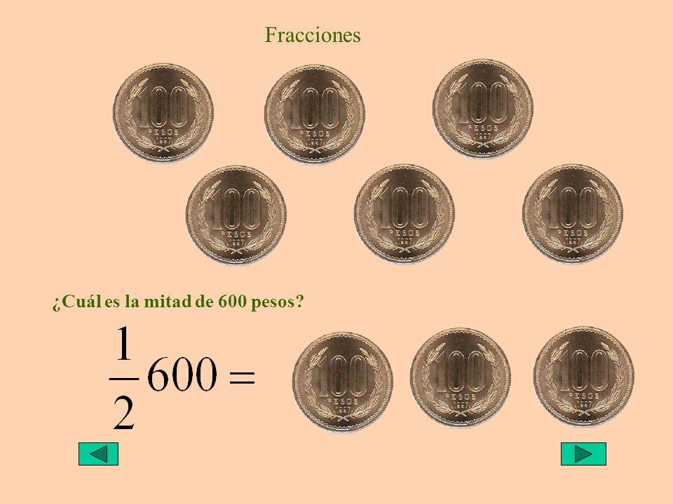 Fracciones ¿Cuál es la mitad de 600 pesos