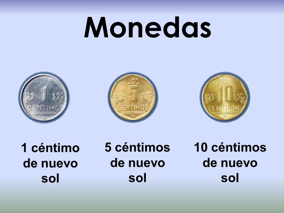 Monedas 1 céntimo de nuevo sol 5 céntimos de nuevo sol