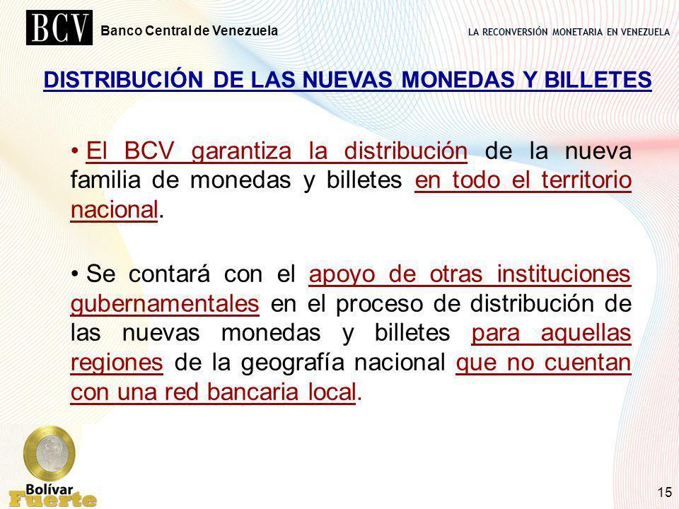 DISTRIBUCIÓN DE LAS NUEVAS MONEDAS Y BILLETES