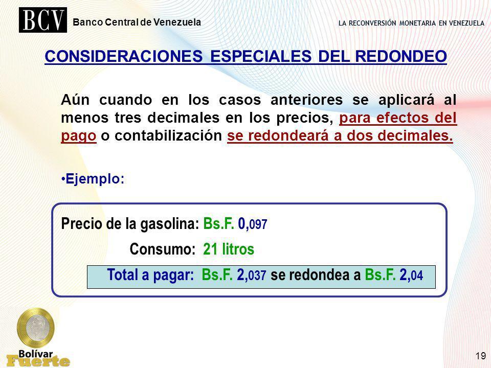 CONSIDERACIONES ESPECIALES DEL REDONDEO