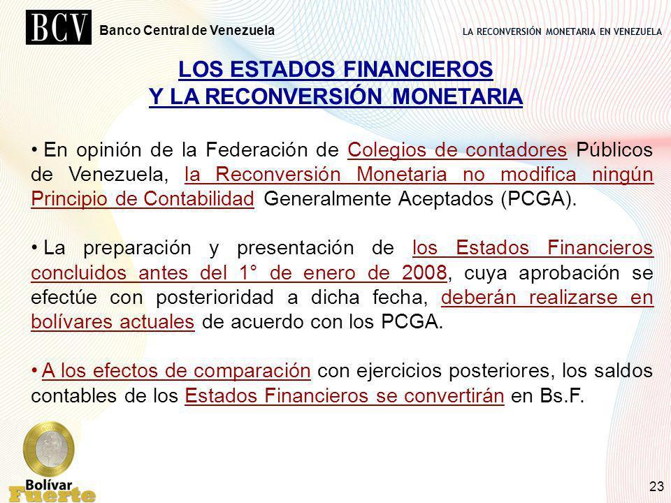 LOS ESTADOS FINANCIEROS Y LA RECONVERSIÓN MONETARIA
