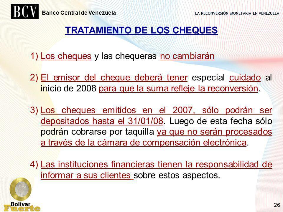 TRATAMIENTO DE LOS CHEQUES