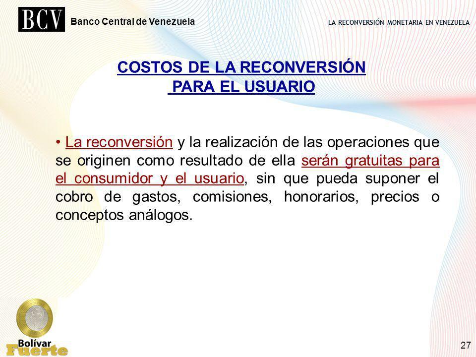 COSTOS DE LA RECONVERSIÓN