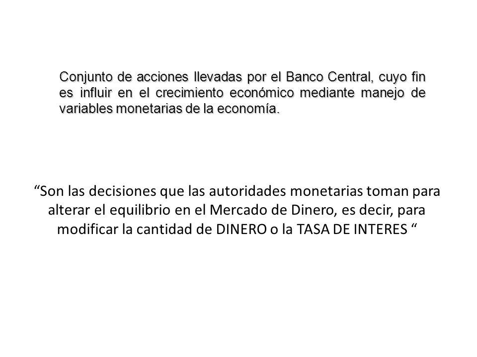 Conjunto de acciones llevadas por el Banco Central, cuyo fin es influir en el crecimiento económico mediante manejo de variables monetarias de la economía.