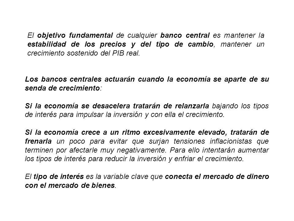 El objetivo fundamental de cualquier banco central es mantener la estabilidad de los precios y del tipo de cambio, mantener un crecimiento sostenido del PIB real.