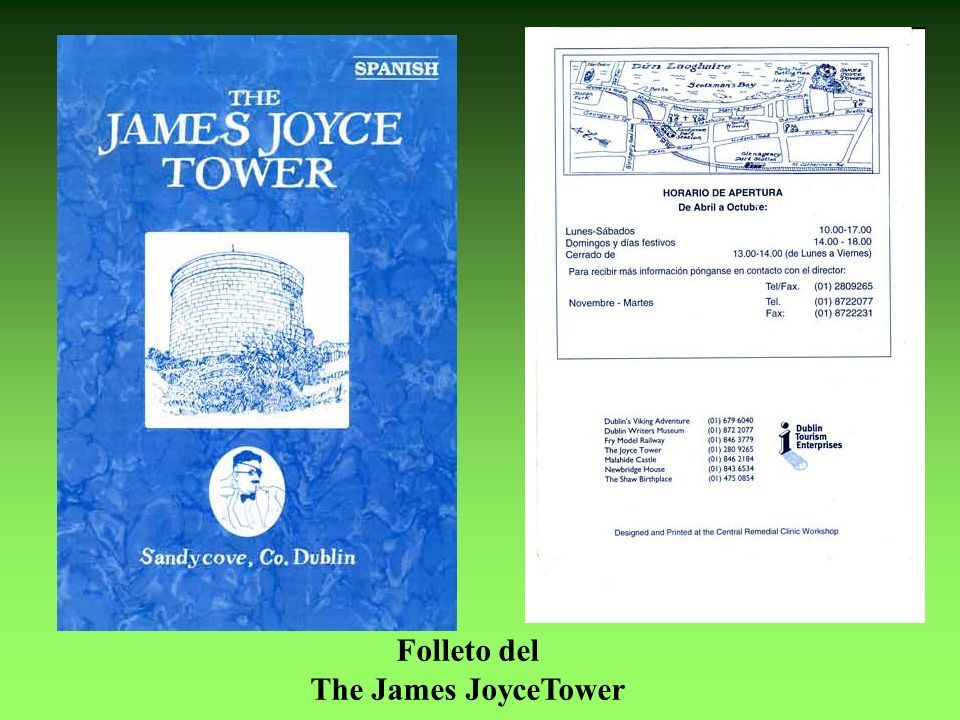 Folleto del The James JoyceTower