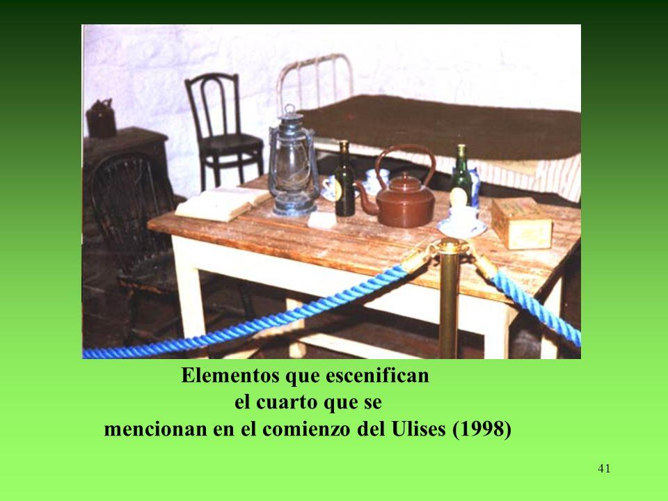 Elementos que escenifican mencionan en el comienzo del Ulises (1998)