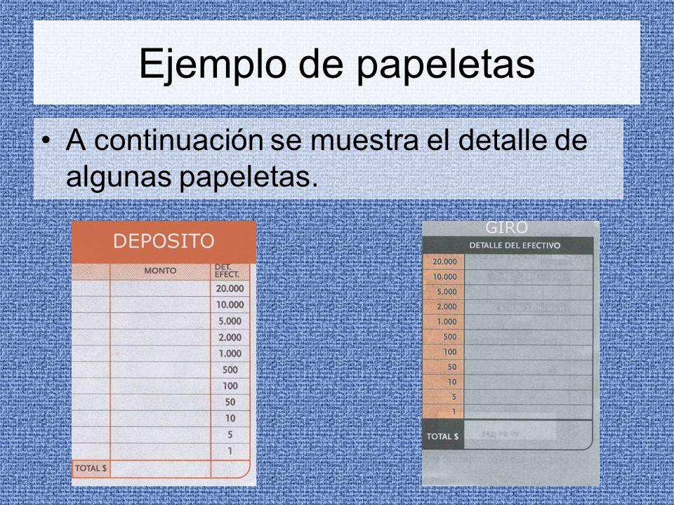 Ejemplo de papeletas A continuación se muestra el detalle de algunas papeletas.