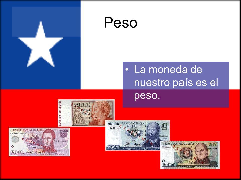 Peso La moneda de nuestro país es el peso.