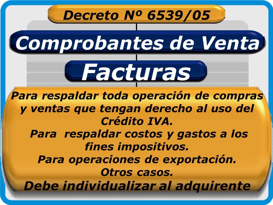 Facturas Comprobantes de Venta Decreto Nº 6539/05