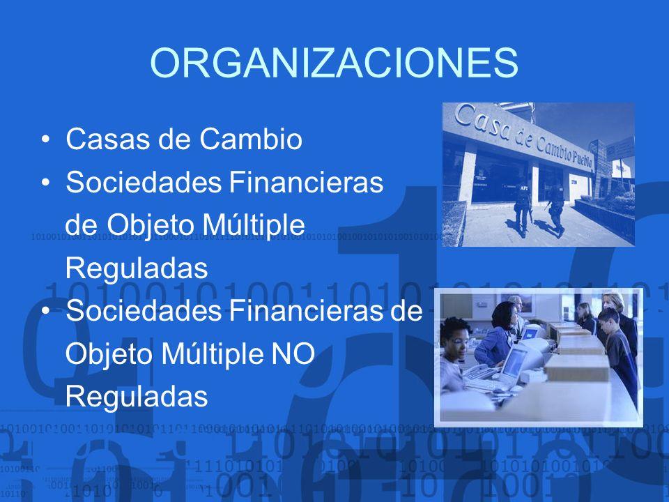 ORGANIZACIONES Casas de Cambio Sociedades Financieras